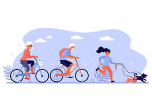 Diverse active people enjoying activities in park. Senior couple riding bikes, person walking dog flat vector illustration. Active lifestyle concept for banner, website design or landing web page