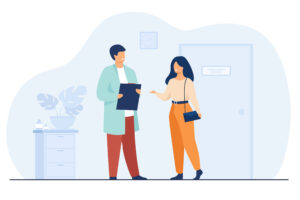 Female patient in doctor office flat vector illustration. Cartoon physician helping with diagnosis and medical therapy. Healthcare and hospital treatment concept